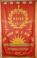Risca Colliery NUM banner, made to celebrate Nationalisation
